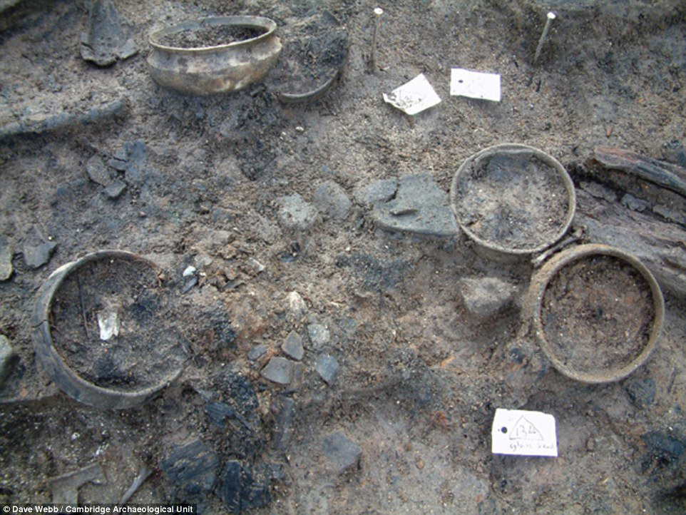 Pots discovered in the archaeological dig at Must Farm Quarry.