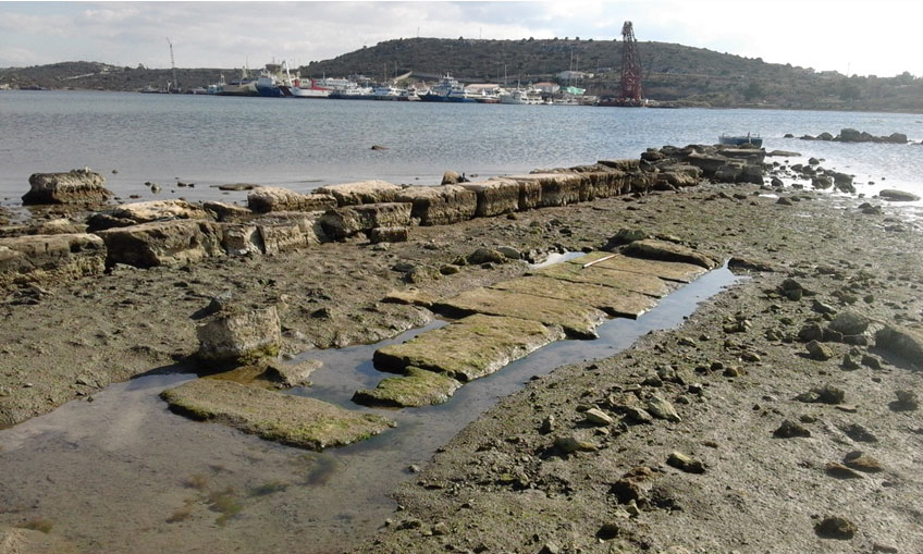 Salamis. Part of the foundation of a strong building (?) structure of Classical times, next to a pier built later with ancient building material, at the north side of the Ambelaki Bay (Photo credit: Chr. Marabea).