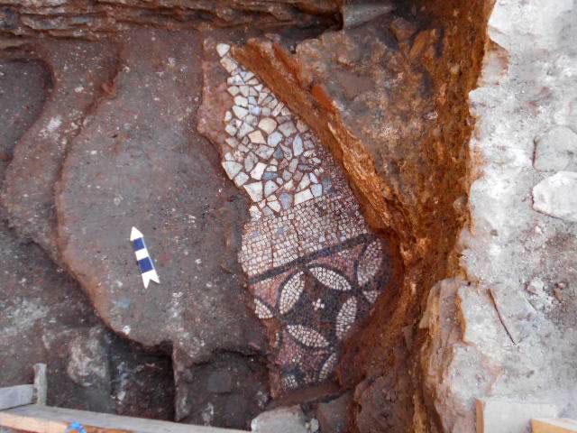 Mosaic floor at the north entrance. Photo credit: ANA-MPE.