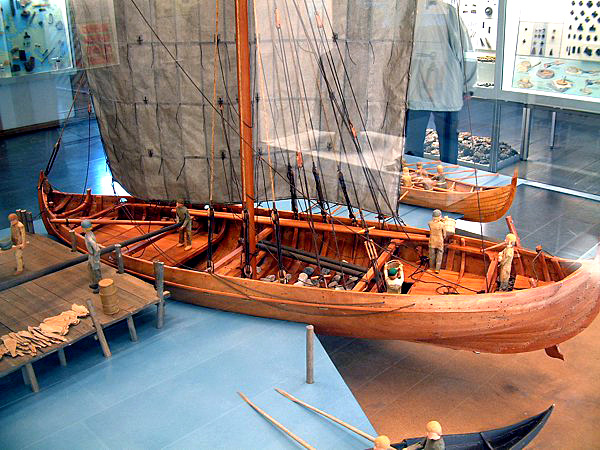 A model of a knarr – exhibited in a museum in Hedeby, in northern Germany. A knarr was a kind of a freighter, and was broader and shorter than a Viking war ship. Photo: Wikipedia