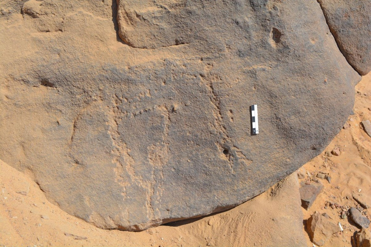 The around 6000-year-old rock engravings can hardly be seen today. They were pecked into the rock with a hard point. Credit © photo: David Sabel