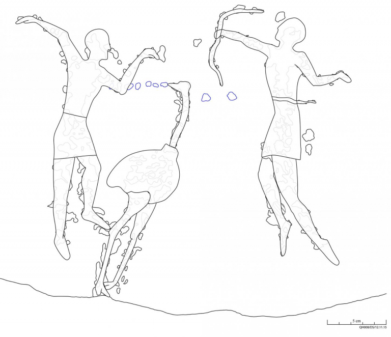 The intentionally overvisualized tracing with inherent interpretation allows three figures to be identified: a hunter with a bow (right), a dancing man with a bird mask (left) and, in the center, the large flightless bird the ostrich. Credit © David Sabel