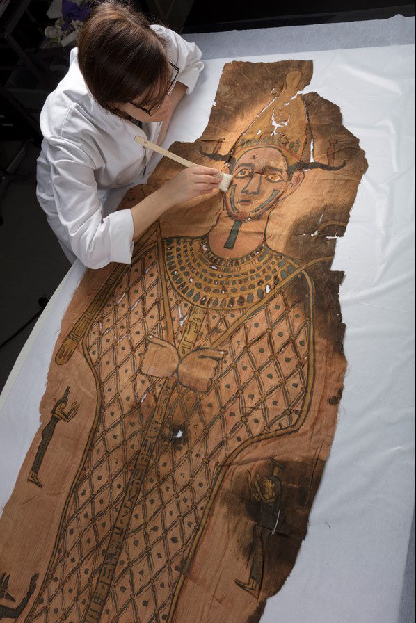 The shroud undergoing conservation at National Museums Scotland.
