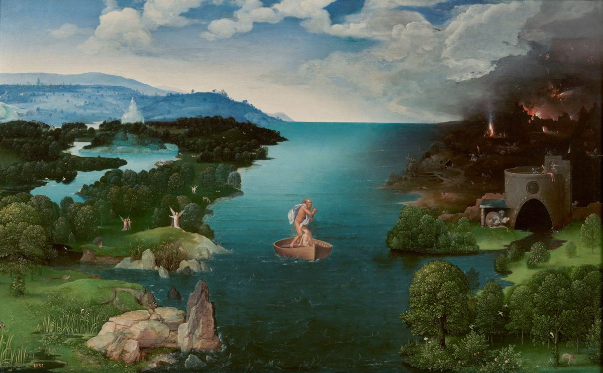 Joachim Patinir, 'Landscape with Charon Crossing the Styx'. Oil on panel, 25.2×40.6 in. Prado Museum, Madrid.