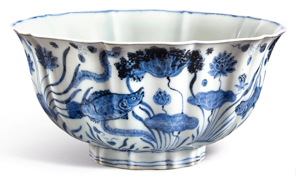 An exceptionally large, fine and important blue and white lobed 'fish pond' bowl Mark and period of Xuande. Photo credit: Sotheby's