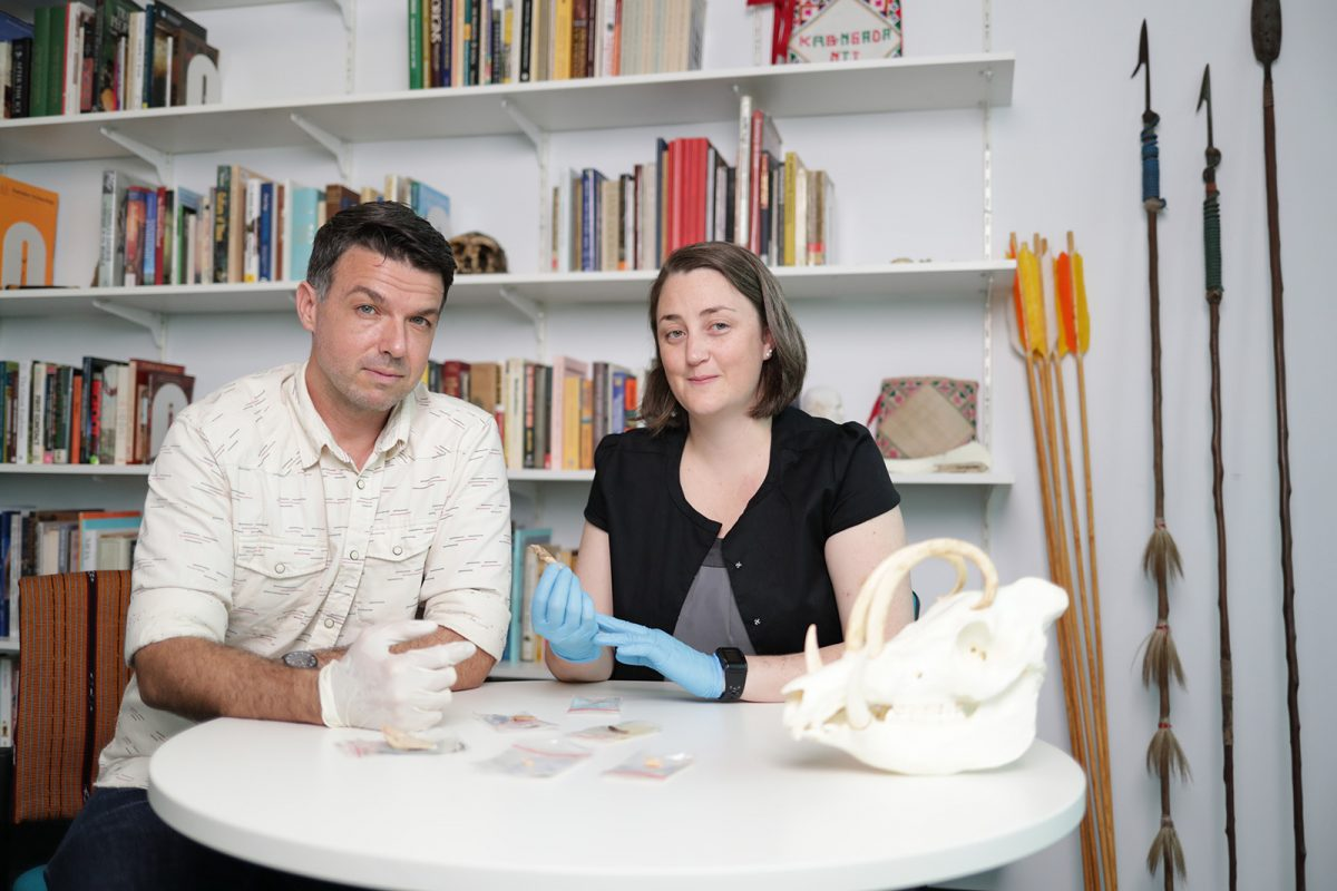 FIg. 2. Griffith University archaeologists Associate Professor Adam Brumm, who with Indonesian colleagues led the excavations that yielded the new findings, and Dr Michelle Langley, who analysed the recovered ornaments and art objects.