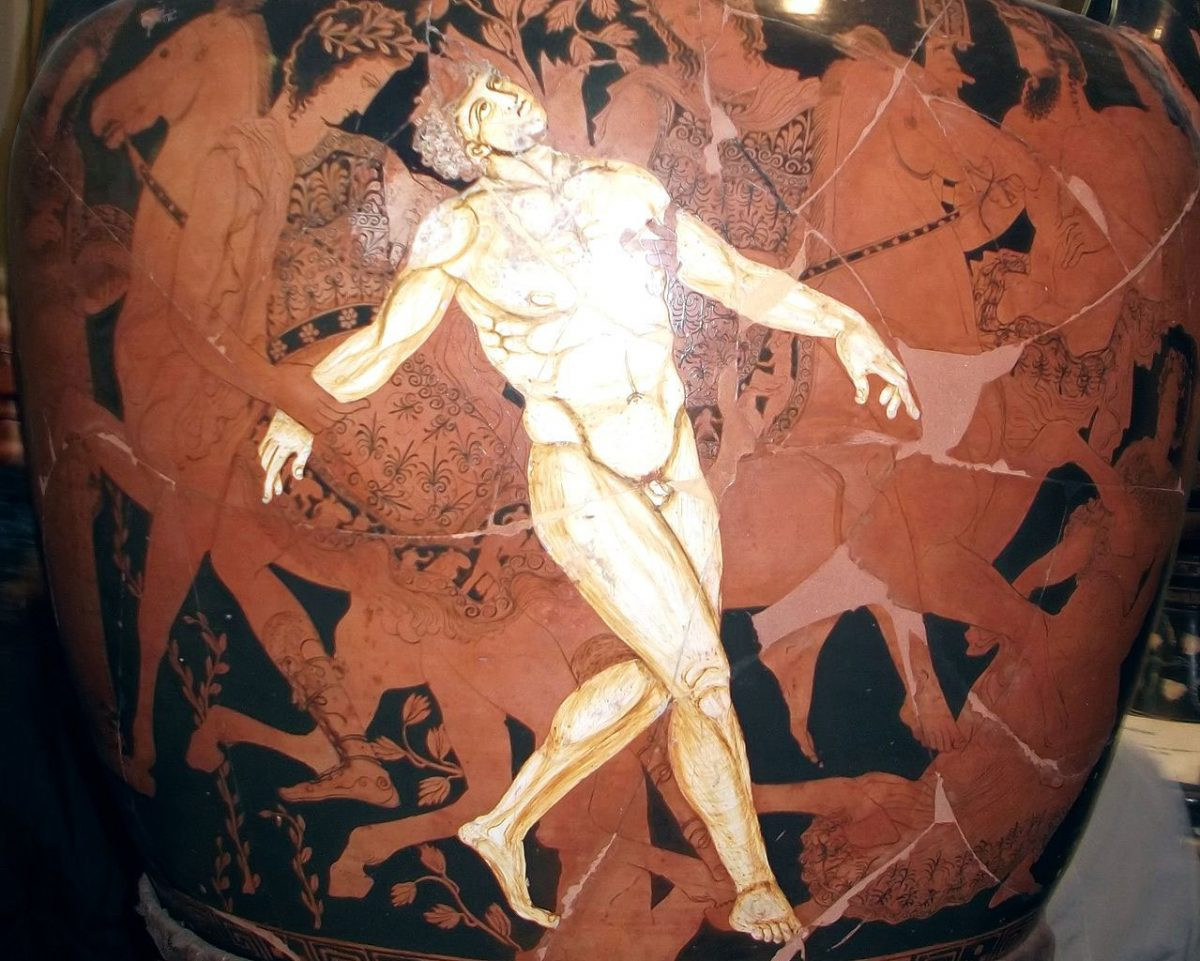 In Greek mythology Talos or Talon was a giant automaton made of bronze. On this 4th-c. BC krater the death of Talos is depicted. Jatta National Archaeological Museum in Ruvo di Puglia.