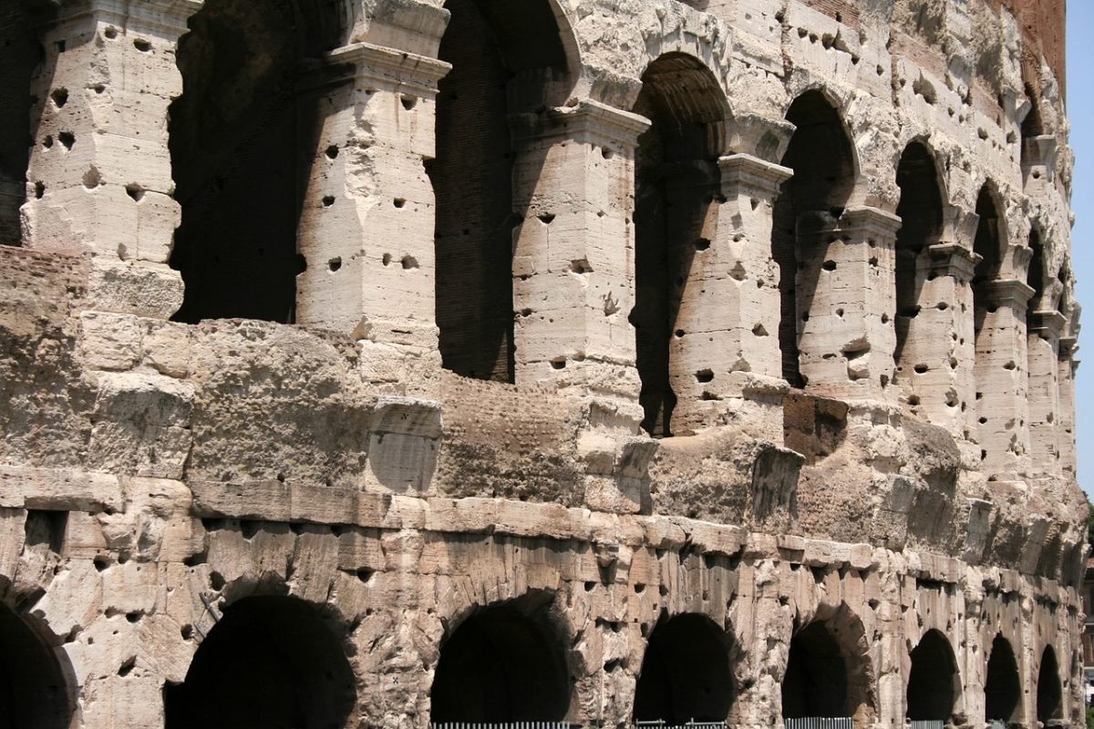 Detail of the outer wall of the Colosseum.