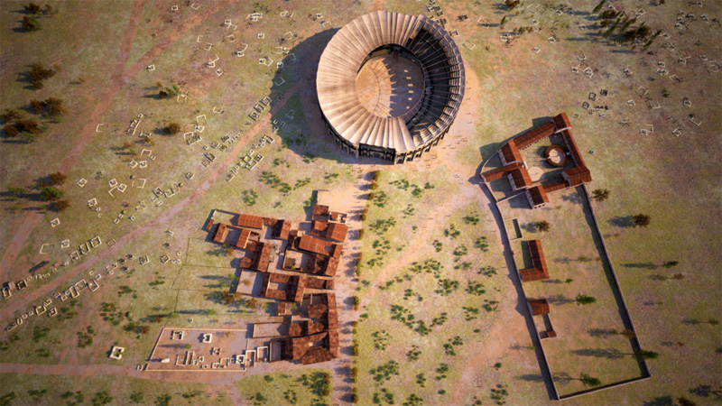 Overview of taverns, amphitheatre and gladiator school – visualization (c) LBI ArchPro, 7reasons