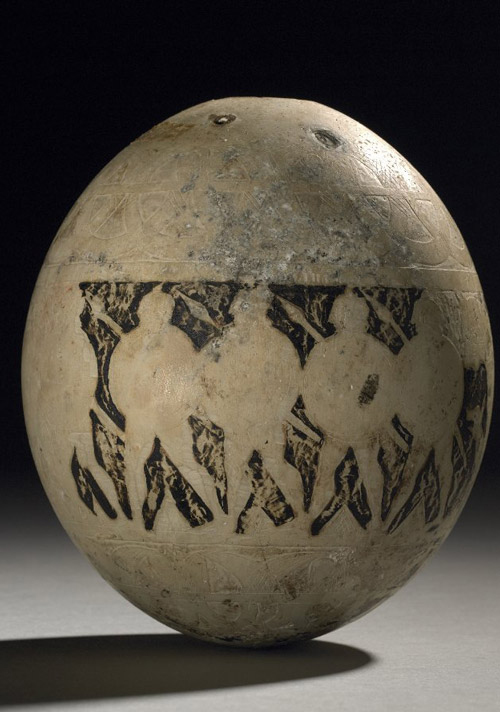 Carved and painted ostrich egg showing hoplites, BM1850, 0227.9. Image credit: Copyright Trustees of the British Museum