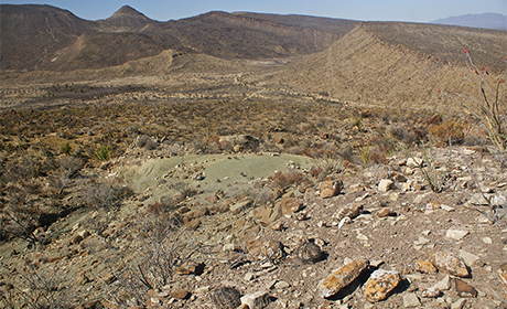 Landscape in the Paredon area: There the researchers encountered fossil imprints while conducting paleontological research. Photo: Wolfgang Stinnesbeck