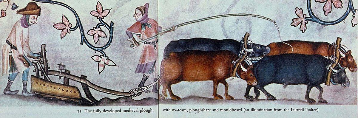 A mouldboard plow (Luttrell Psalter, 1340).