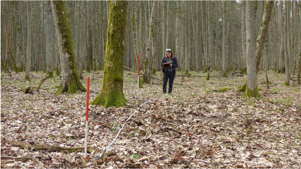 Archaeologist during field work - GPS tracking traces of ancient human activity the past man. Photo by D. Krasnodębski