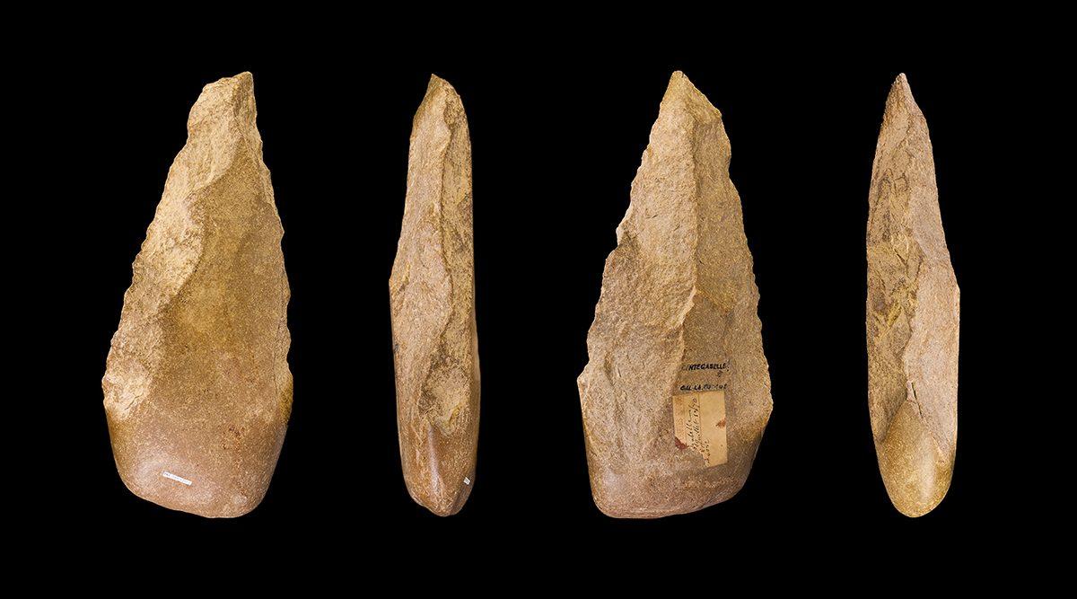 An Acheulean handaxe, Haute-Garonne France. Muséum d'Histoire Naturelle de la ville de Toulouse