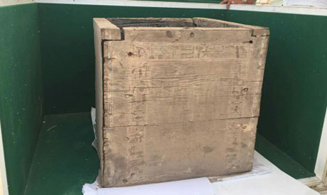 The newly discovered box. Photo: Nevine El-Aref