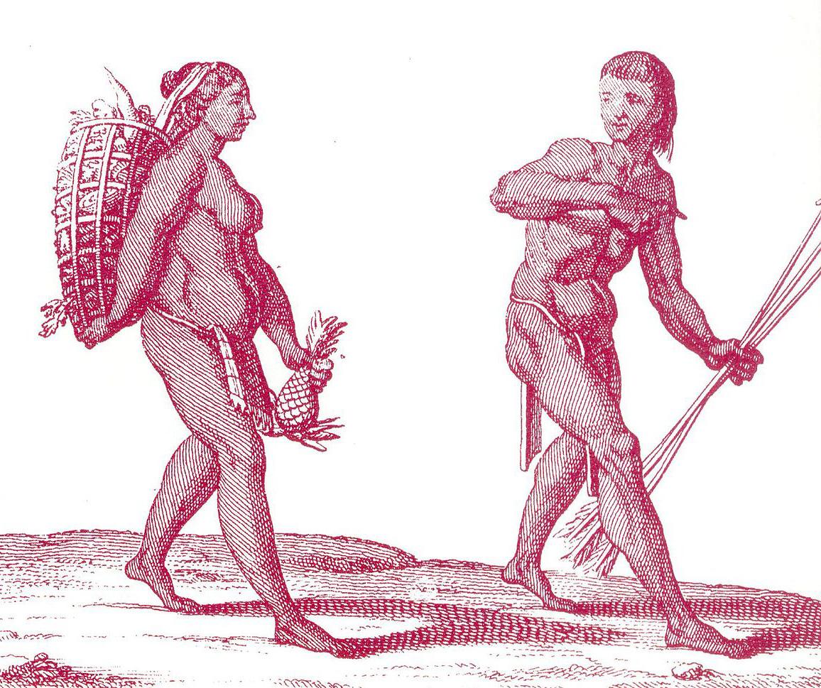 A Kali'na hunter with a woman gatherer.
