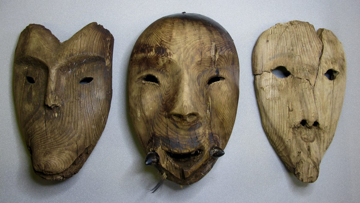 A collection of wooden masks was discovered at Nunnaleq.