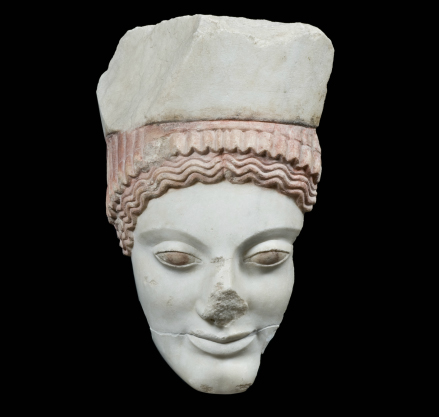 """For the first time fragments of a statue depicting the """"Polos Kore"""" (young woman with a high head dress) will be put on display inside the Archaic Acropolis Gallery."""