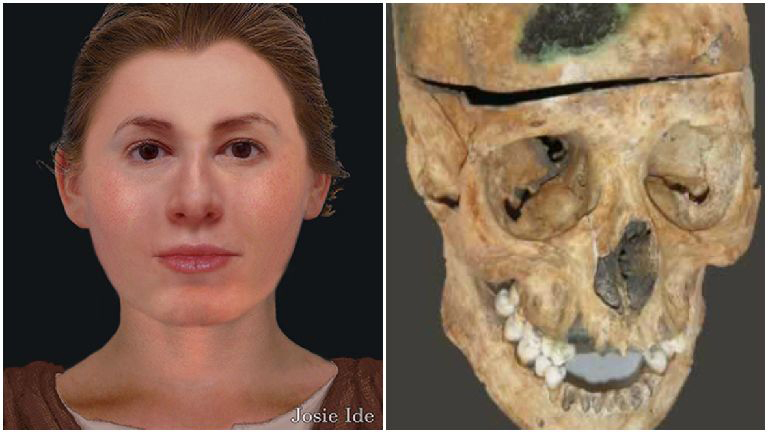 Facial reconstruction of an eighteenth-century woman whose remains were discovered on the grounds of Lady Yester's Church.