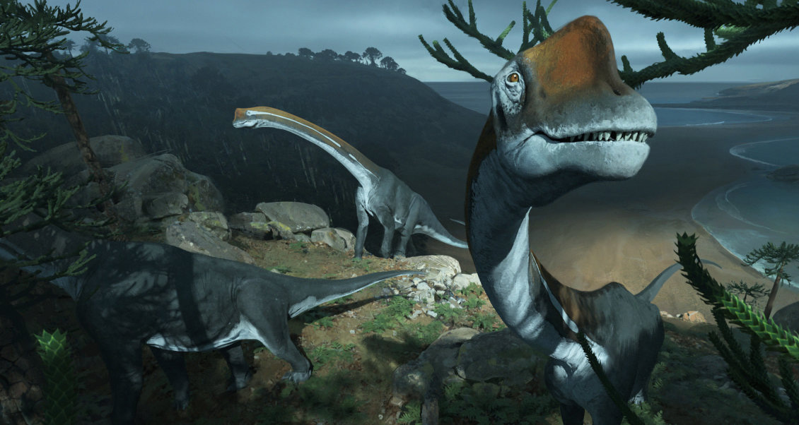 Vouivria herd roaming the coast of what is now Europe. Millions of years ago Europe was a chain of islands and, being a herbivore, Vouivria damparisensis would have grazed on the vegetation in its local vicinity. Credit: Imperial College London / Chase Stone.