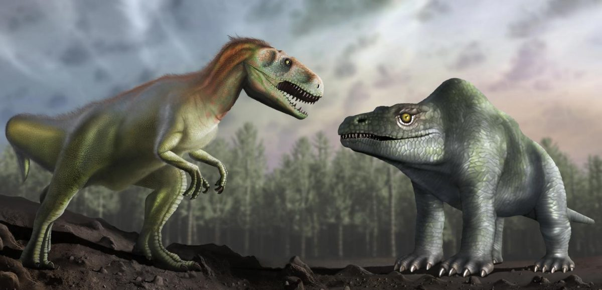 Artist's impression of how Victorian Palaeontologists thought the Megalosaurus looked (right) is compared with how we now understand it to have looked (left). Credit: University of Warwick/Mark Garlick