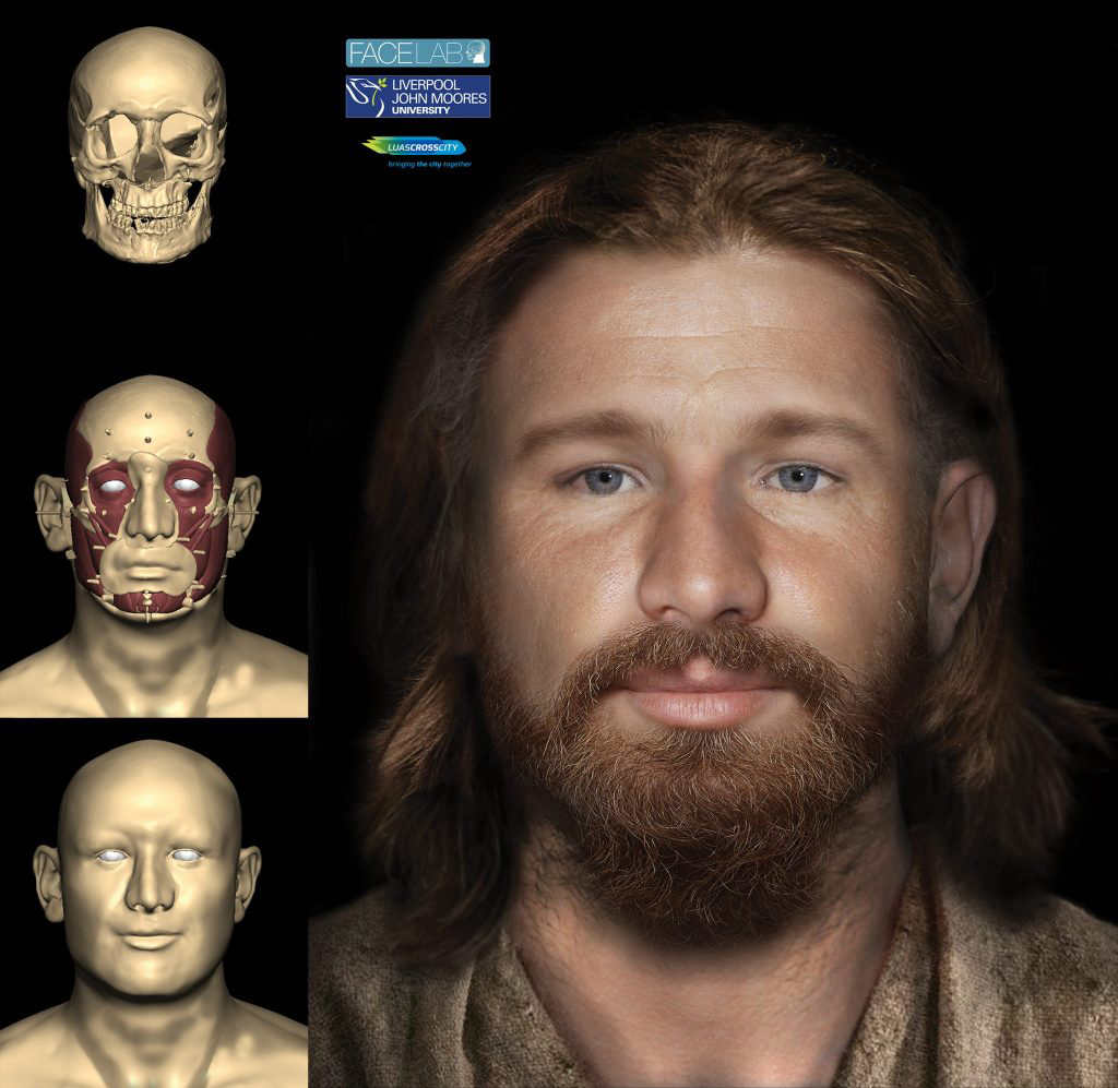 Digital facial reconstruction of Tudor Dubliner with intermediate modelling stages shown on left (Liverpool John Moore's University for Rubicon Heritage Services Ltd.)