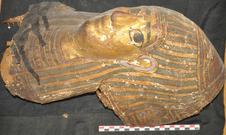 A gilded newly discovered coffin.