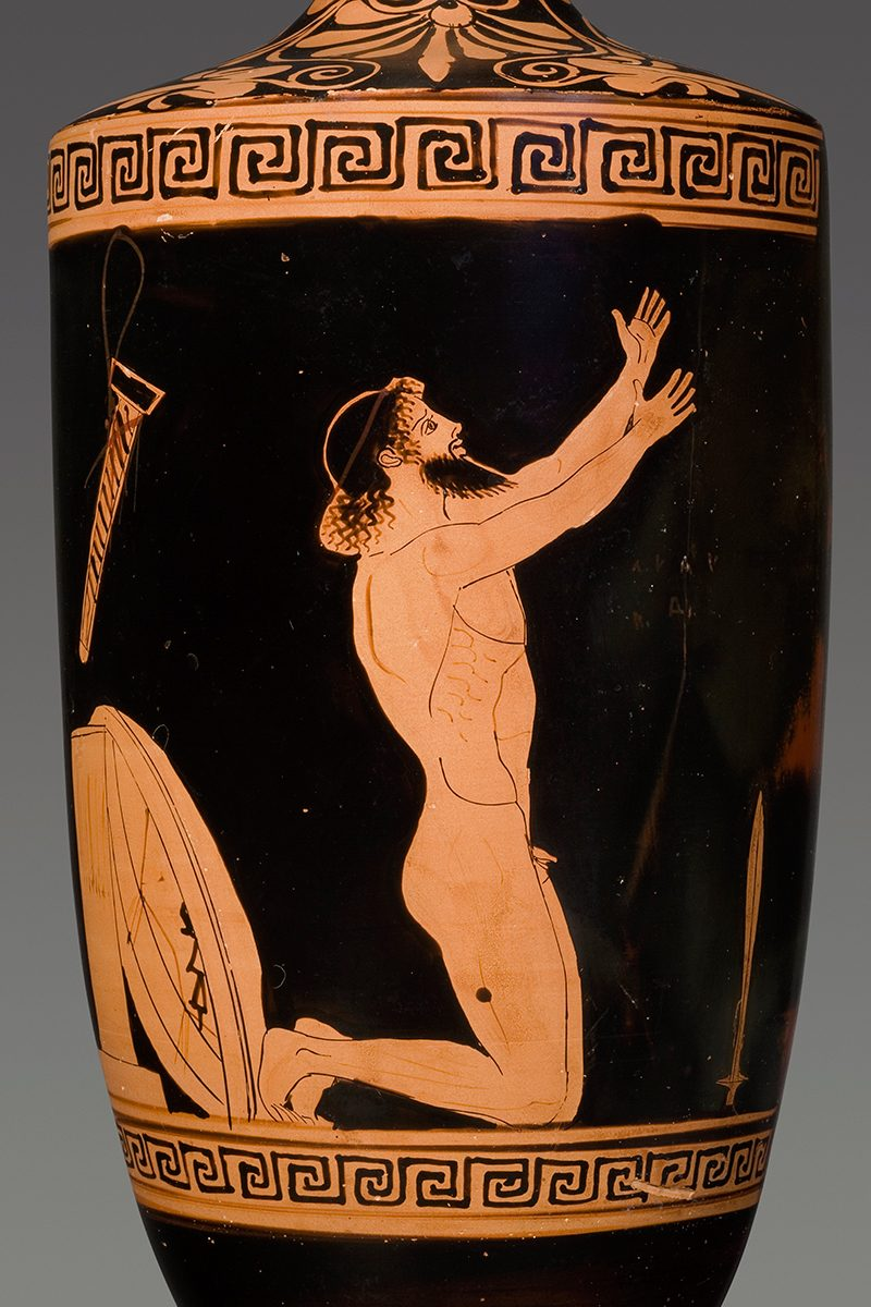 Lekythos with the Suicide of Ajax, ca. 460 BC. Terracotta, Red-figure, attributed to the Alkimachos Painter Attica. Antikenmuseum Basel und Sammlung Ludwig