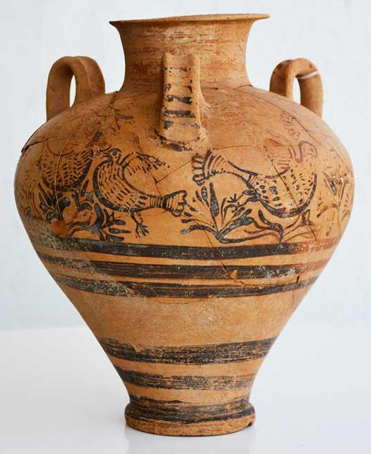 Late Minoan II/IIIA1 complete piriform jar of medium size.
