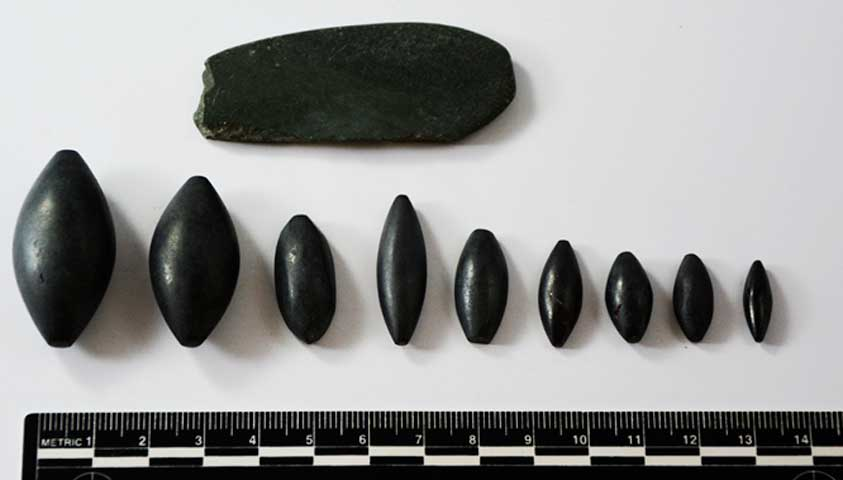 Haematite weights of varying weights.