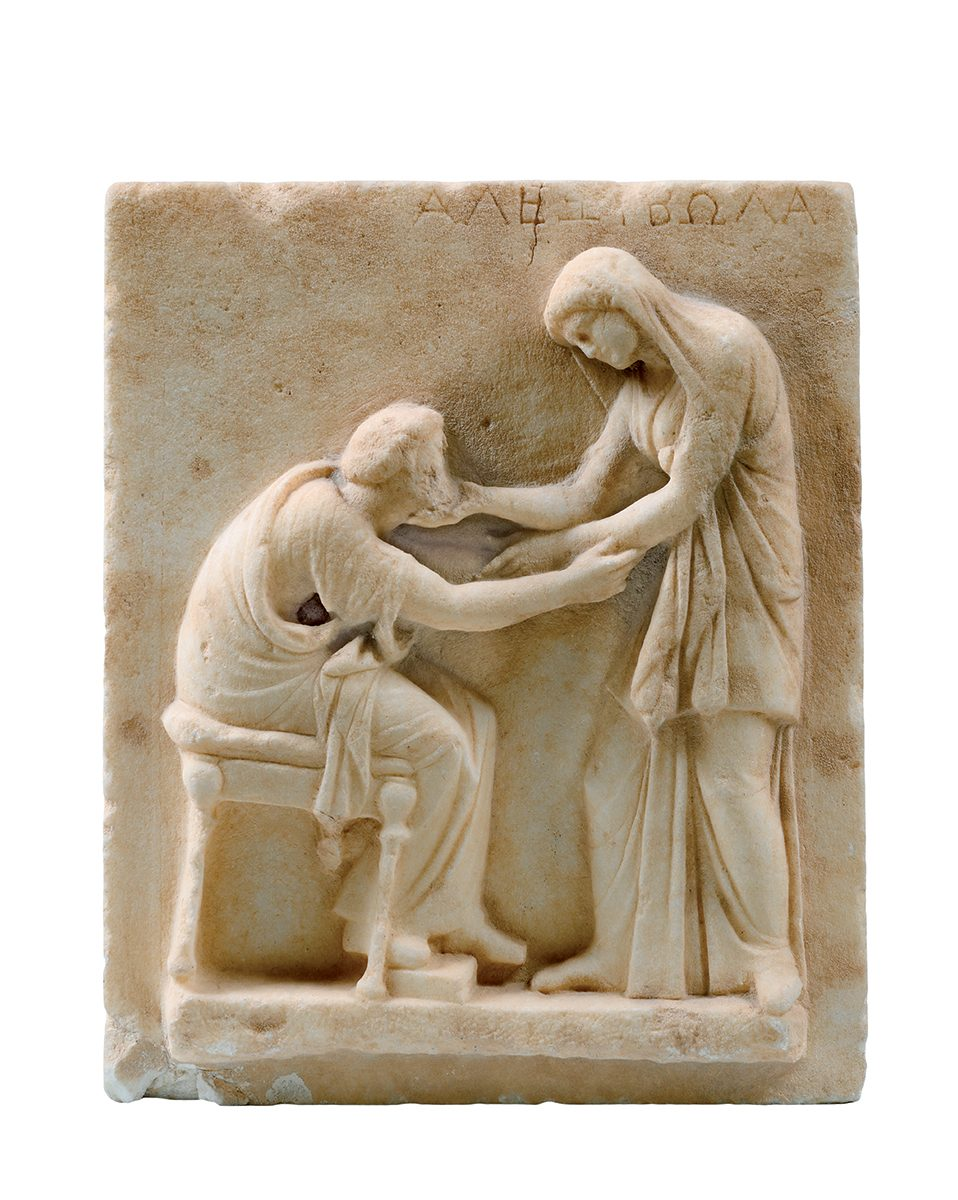 Funerary Stele with Scene of Greeting. Early 3rd century BC. Marble Santorini, Cemetery of Ancient Thera, Archaeological Museum of Thera.