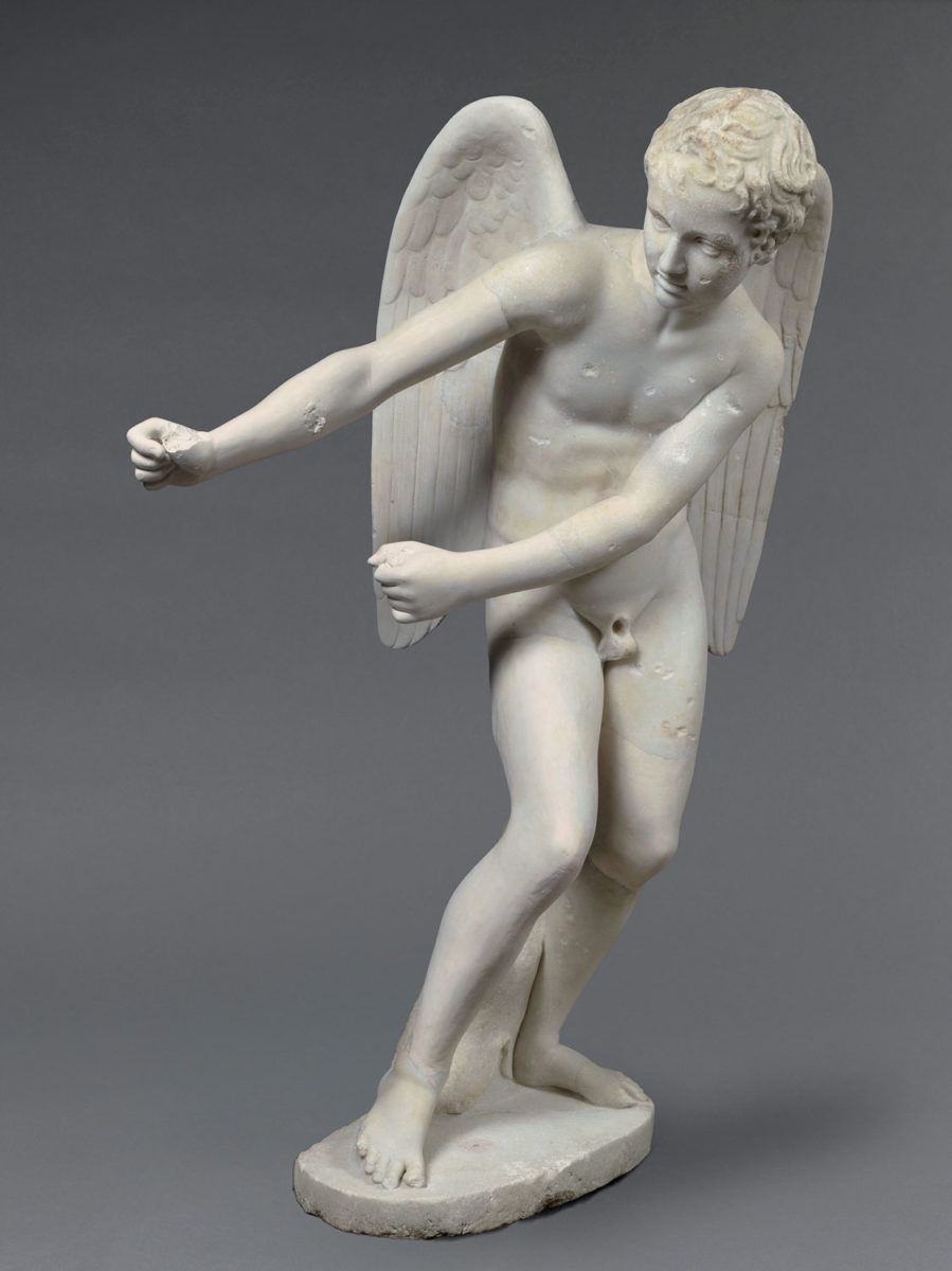 Marble statue of Eros stringing his bow. 2nd century AD. Rome, from the Palatine Hill. Paris, Musée du Louvre.