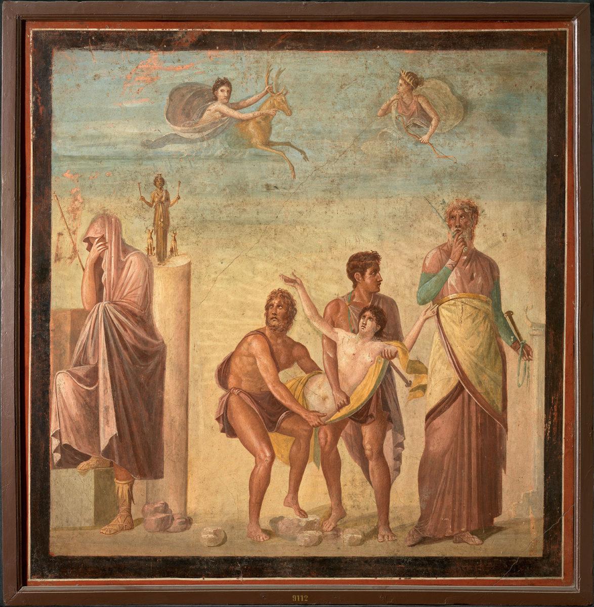 Wall painting with scene from the sacrifice of Iphigeneia. ca. 62–79 AD. Pompeii, Casa del Poeta Tragico. Napoli, Museo Archeologico Nazionale.