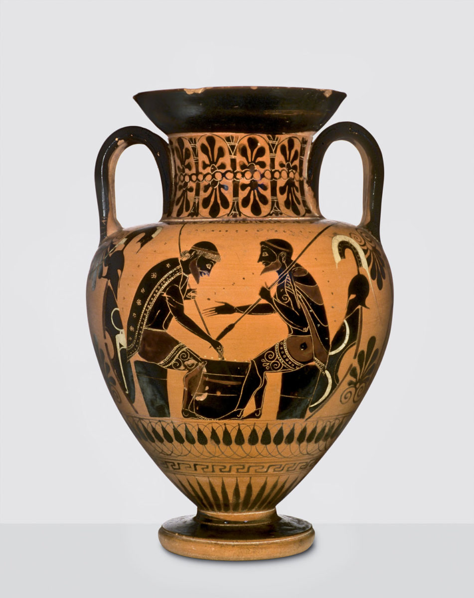 Black-figure amphora with scene of Achilles and Ajax playing a board game. ca. 540 BC. Vulci. Basel, Antikenmuseum Basel und Sammlung Ludwig.