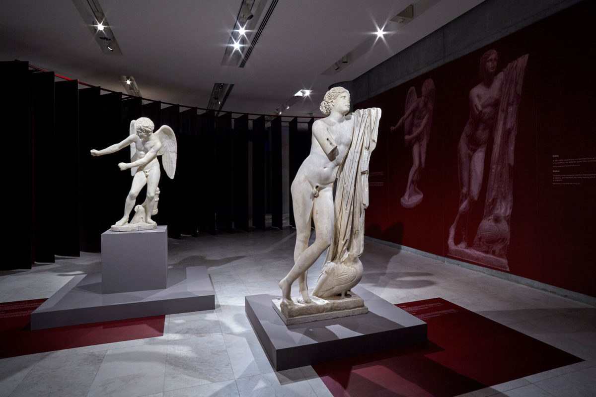 View of the exhibition 'εmotions', co-organized by the Acropolis Museum and the Onassis Foundation. Photographed by Giorgos Vitsaropoulos.