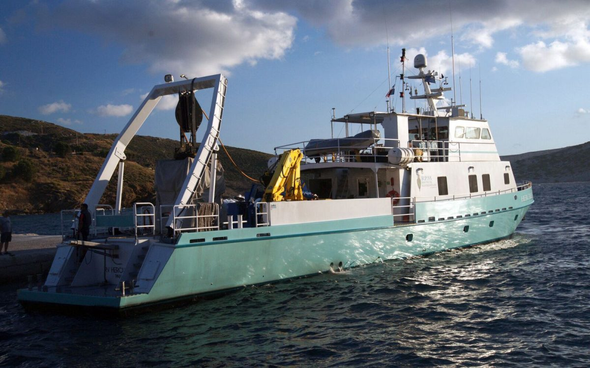 RPM Nautical Foundation's scientific research vessel RV Hercules at port in Fourni. Photo by Vasilis Mentogianis. Credit: Ephorate of Underwater Antiquities-Hellenic Ministry of Culture and Sports / RPM Nautical Foundation