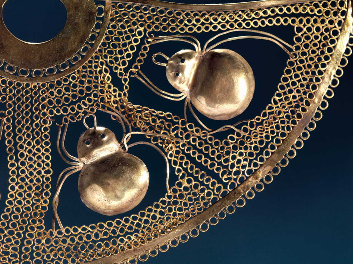 Nose Ornament with Spiders (detail), 1st century BCE-2nd century CE. Salinar culture. Gold. The Metropolitan Museum of Art, The Michael C. Rockefeller Memorial Collection, Bequest of Nelson A. Rockefeller. Image © The Metropolitan Museum of Art.