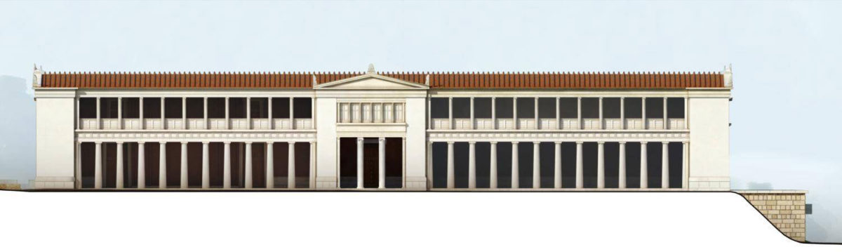 Drawing restoration of the Aigai palace façade.