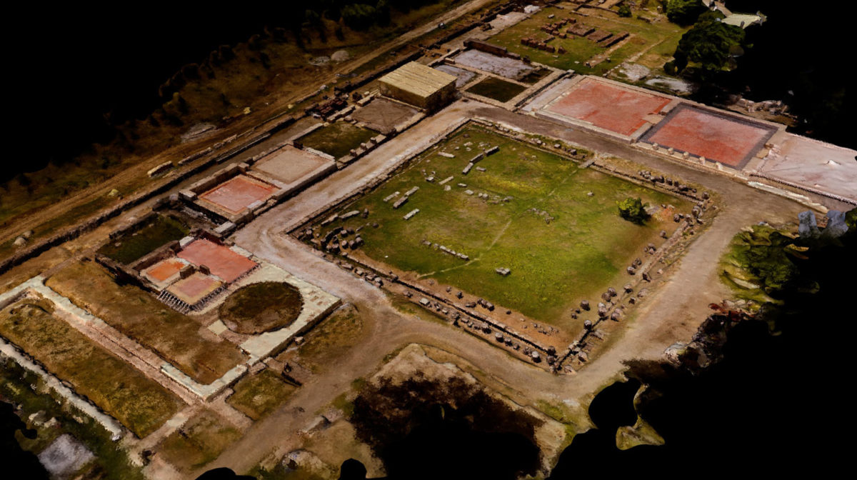 Snapshot of the three dimensional mapping of the archaeological site of the palace.