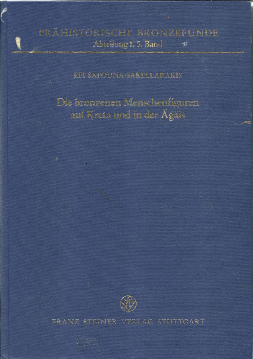 Fig. 34. Efi Sapouna-Sakellarakis, 'Die bronzenen Menschenfiguren auf Kreta und in der Ägäis', Franz Steiner Verlag, Stuttgart 1995.