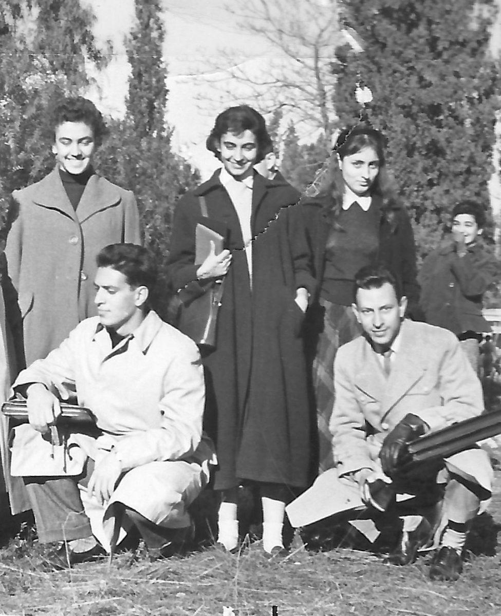Fig. 4. The university years. In the centre, Efi Sapouna, on the right, Marina Karagatsi. Seated on the left, Yannis Sakellarakis.