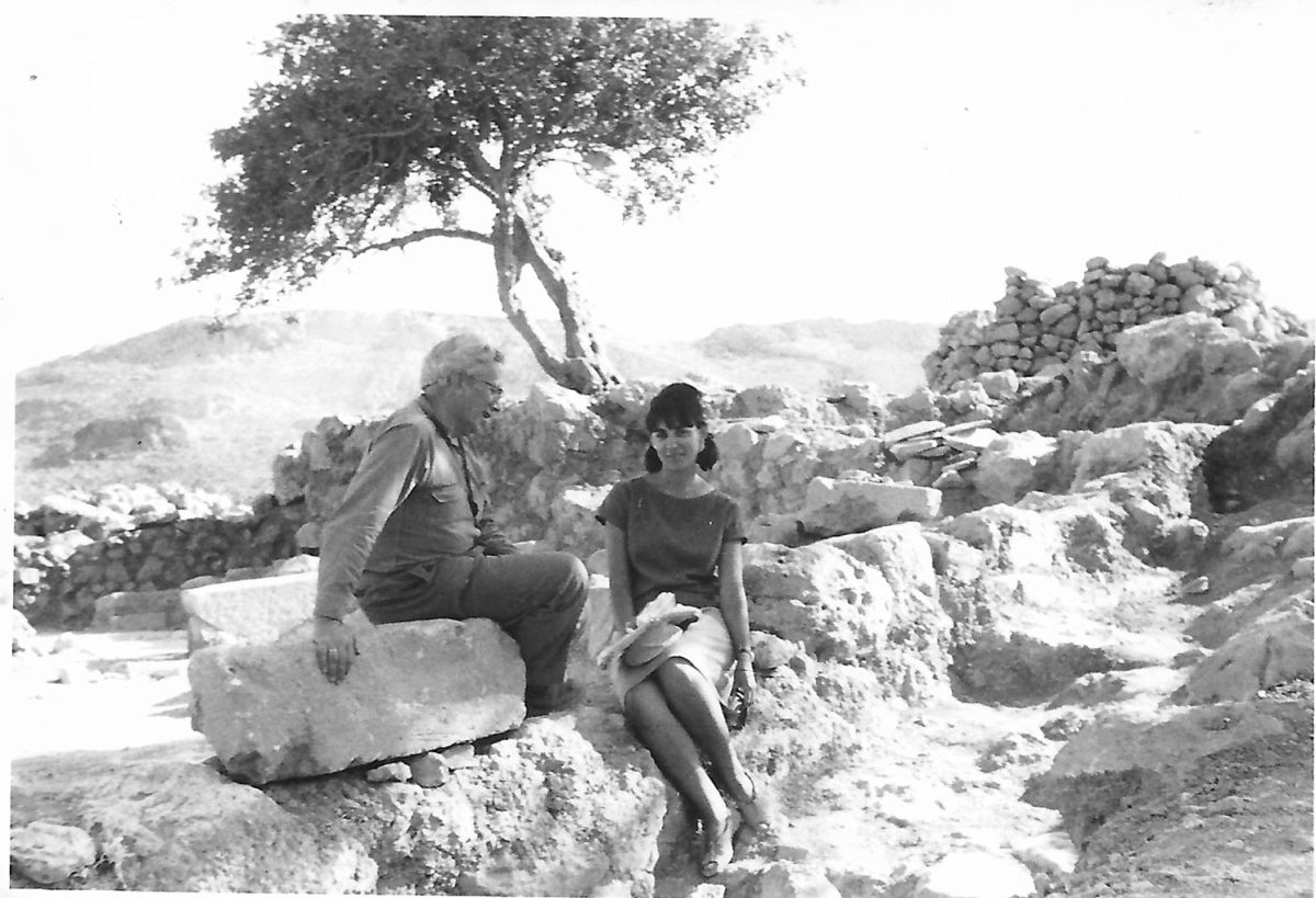 Fig. 7. Efi Sapouna-Sakellarakis with Nikolaos Platonas, Zakros, 1963.