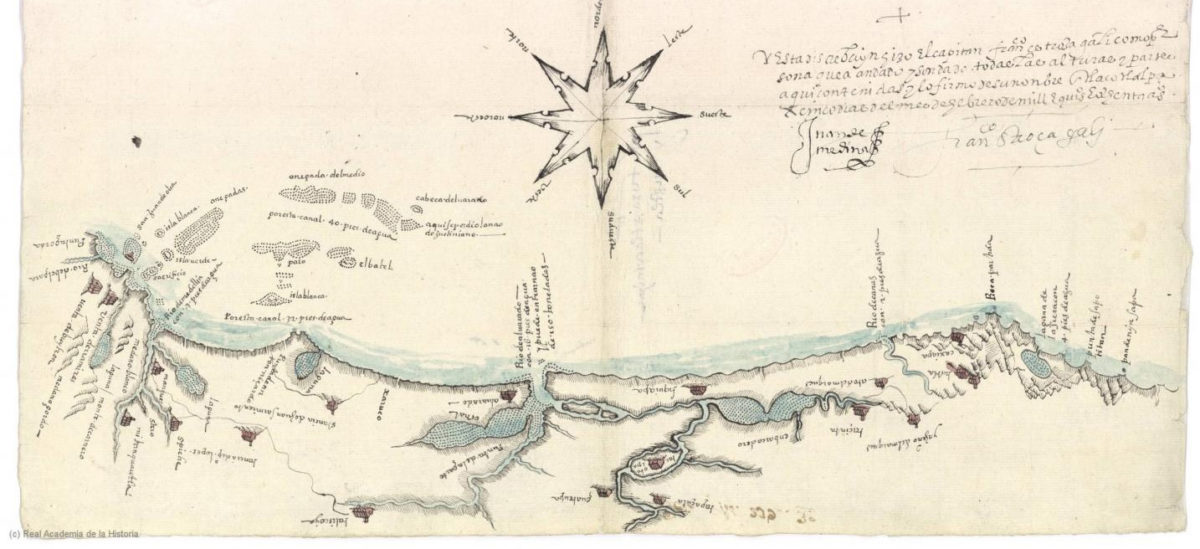 Image of the map of Tlacotalpa made by Francisco Gali in the 16th century. Credit: University of Seville