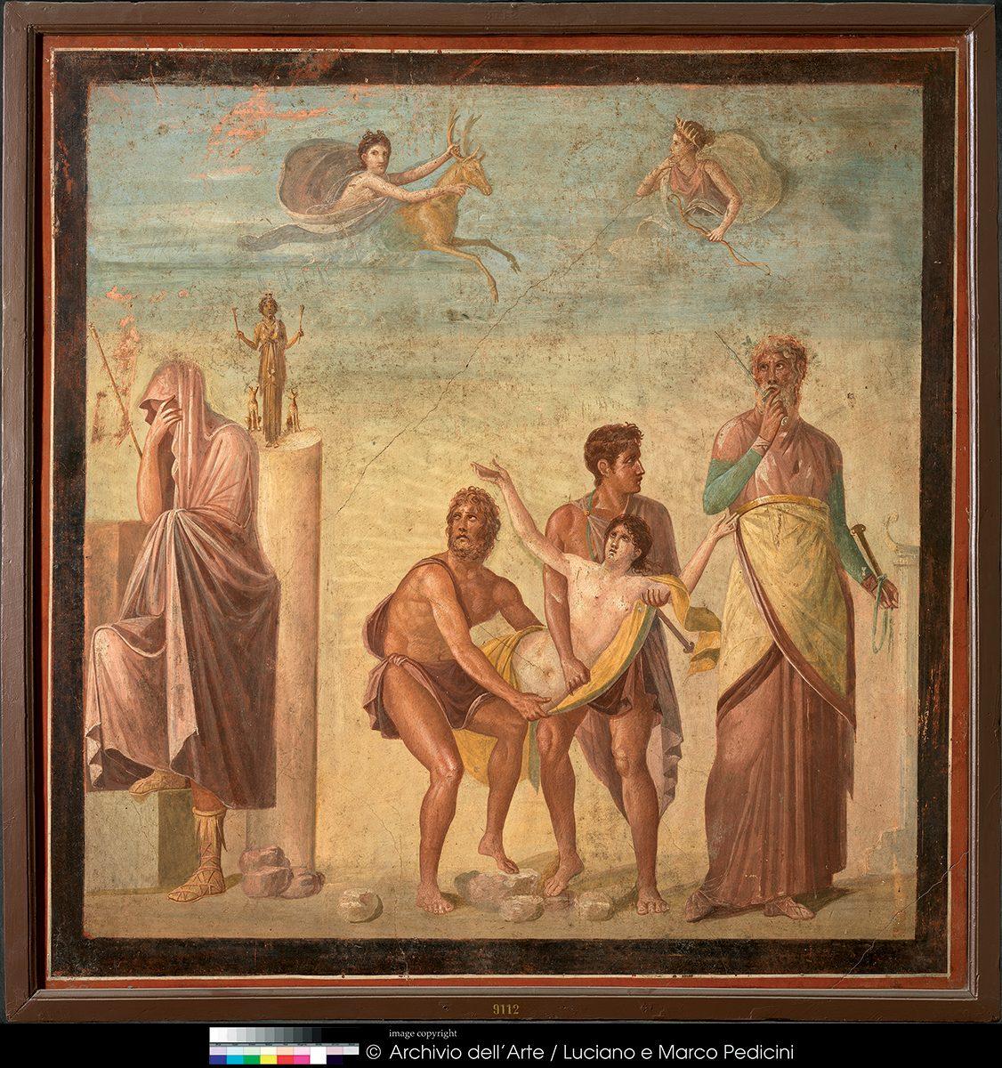 Wall Painting with Scene from the Sacrifice of Iphigeneia ca. 62-79 AD. Fresco on Plaster. Pompeii, Casa del Poeta Tragico. Museo Archeologico Nazionale di Napoli