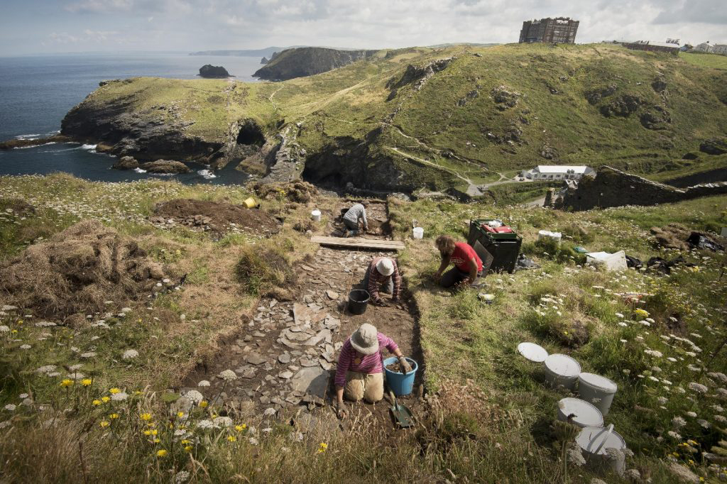 The ground-breaking 2016 dig by the Cornwall Archaeological Unit (CAU) – the first research excavations at Tintagel Castle in decades – covered only a small area, but still unearthed a feast of historical finds. Image Credit: Tintagel Castle Archaeological Research Project