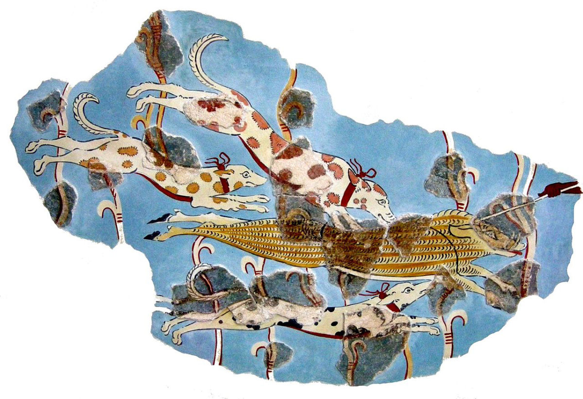 Wall painting fragments with a representation of a wild boar hunt. From the later Tiryns palace. National Archaeological Museum, Athens.