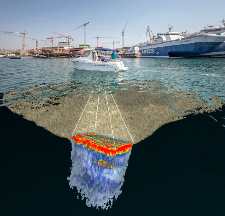 Salamis, Ambelakia bay. 3D representation of locating a target buried under the bay's seabed. Photo.: P. Karantzas, composition: N. Georgiou.
