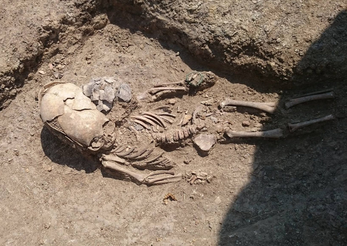 The skeletal remains of the 'alien' child. Source:  Archaeology Foundation