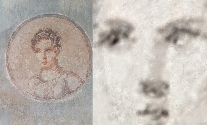 An iron element map (right) made with new X-ray technology reveals the underlying craftsmanship hidden beneath a damaged portrait of a Roman woman (left). Credit: Roberto Alberti, PhD