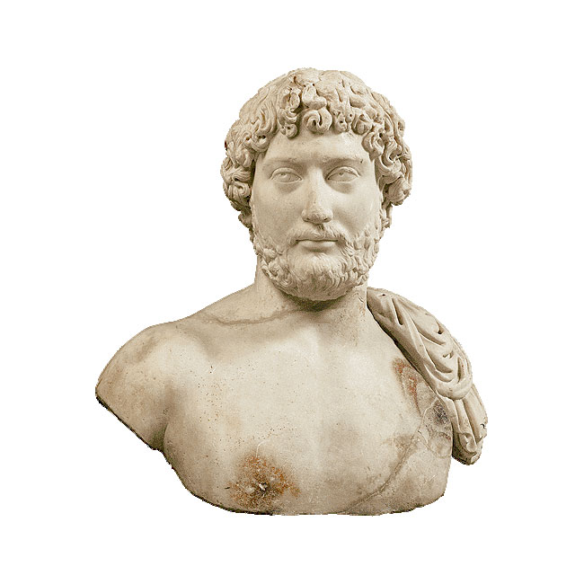 Bust of the emperor Hadrian found in Athens. Circa 130 AD. National Archaeological Museum.